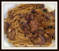 Linguini with chicken liver sauce